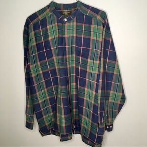 Men's Grandfather Style Shirt in Plaid